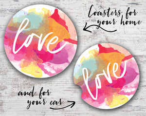Quotable Life - Love Watercolor Coaster