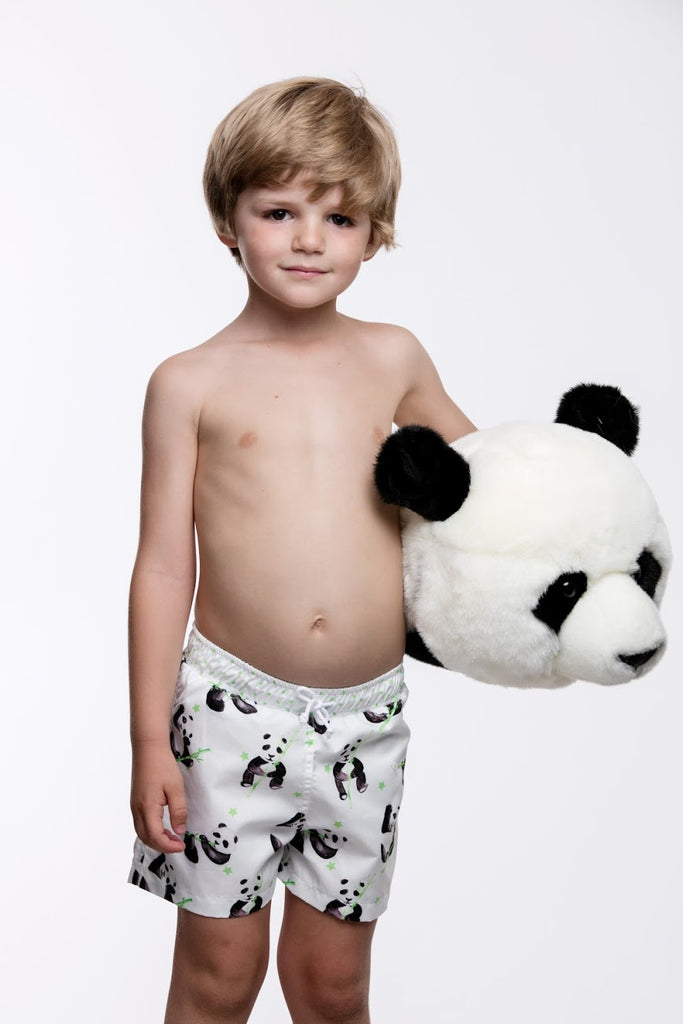 Green Panda Boys Swim Trunks