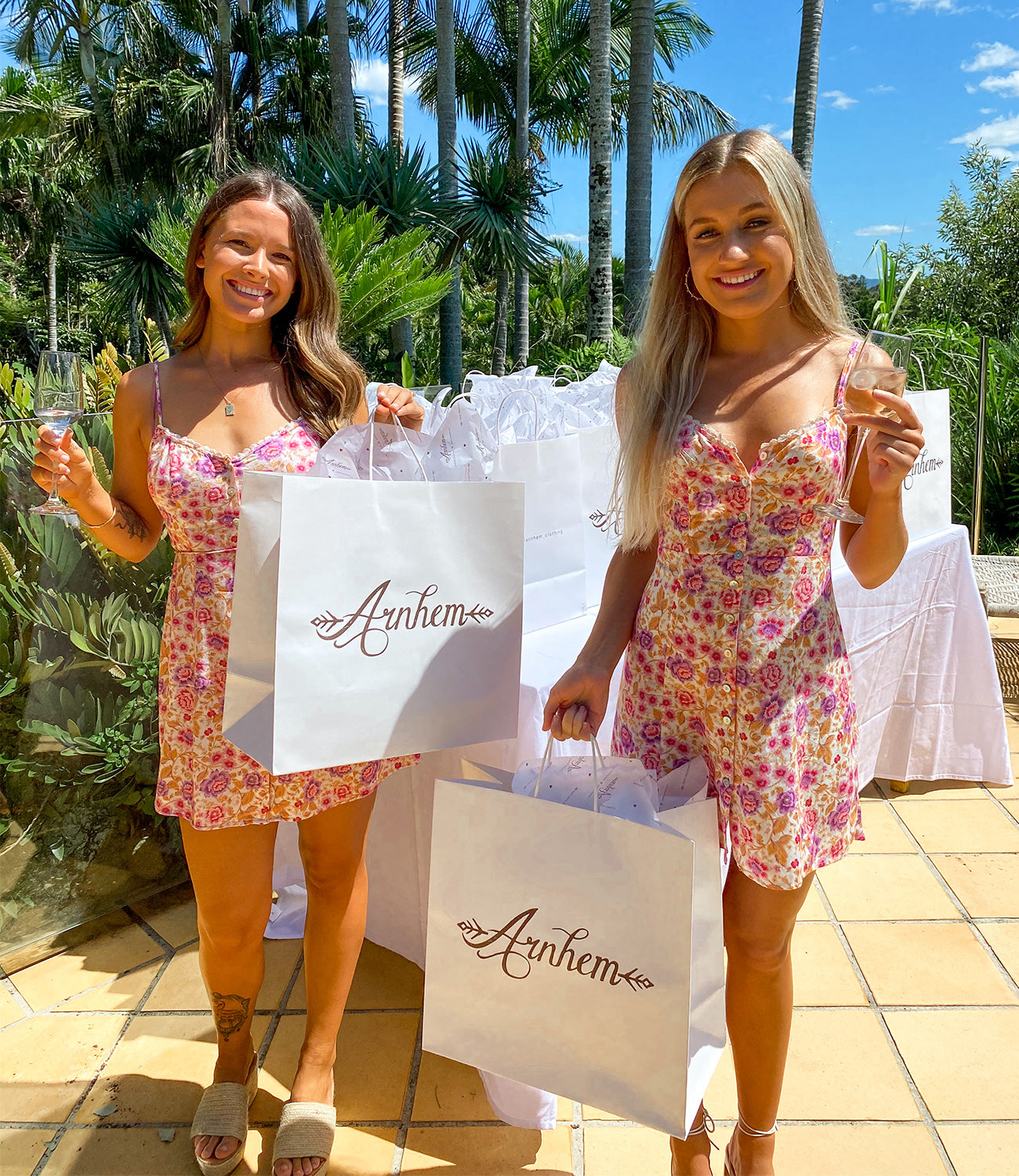 Chelsea and Teigan loving their sustainable gift bags from Arnhem