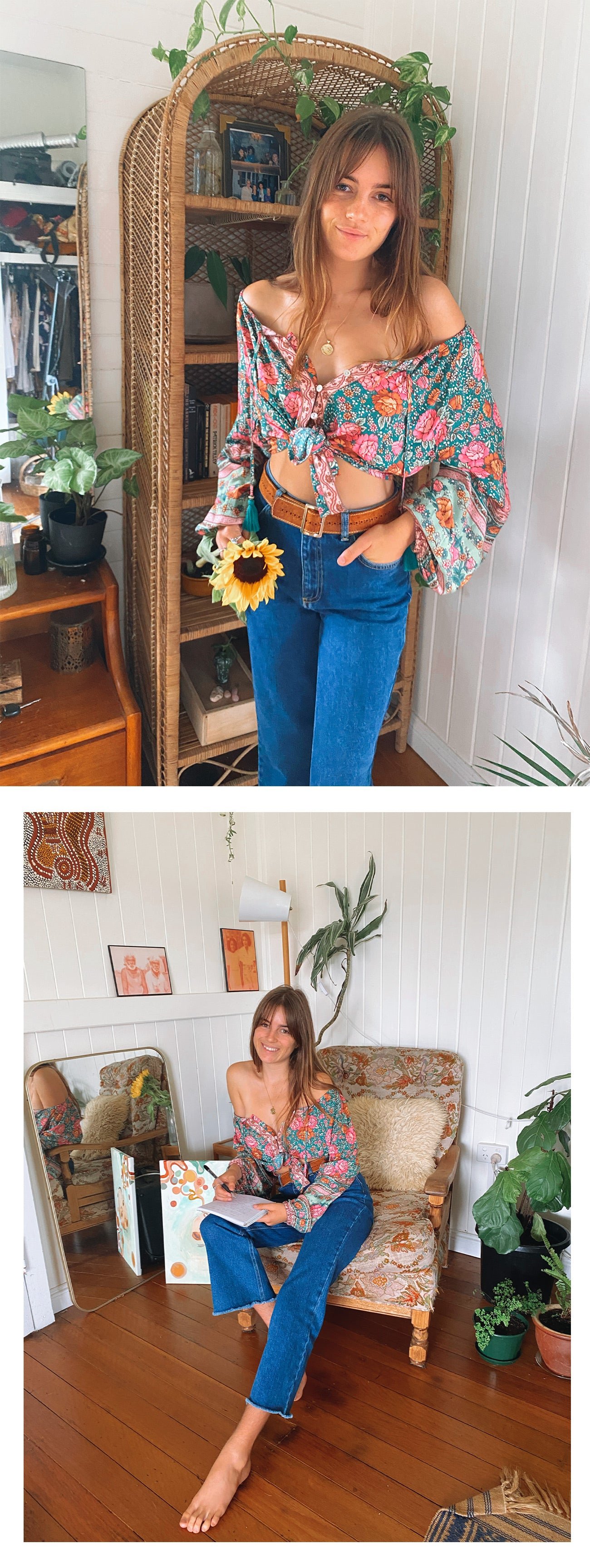 Freya wears the Amberley Blouse and Hideaway Jeans from Arnhem