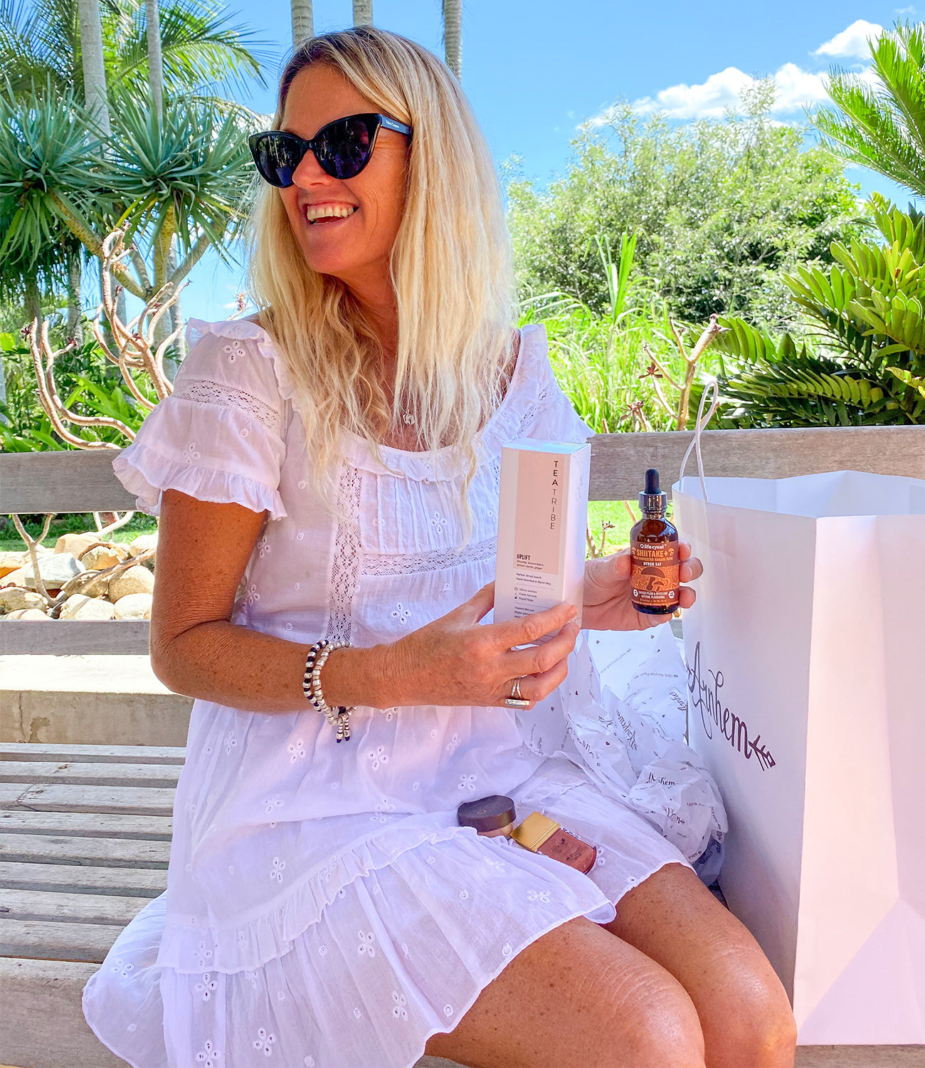 Andrea loving the Life Cykle mushroom extract and Tea Tribe Cleansing Tea