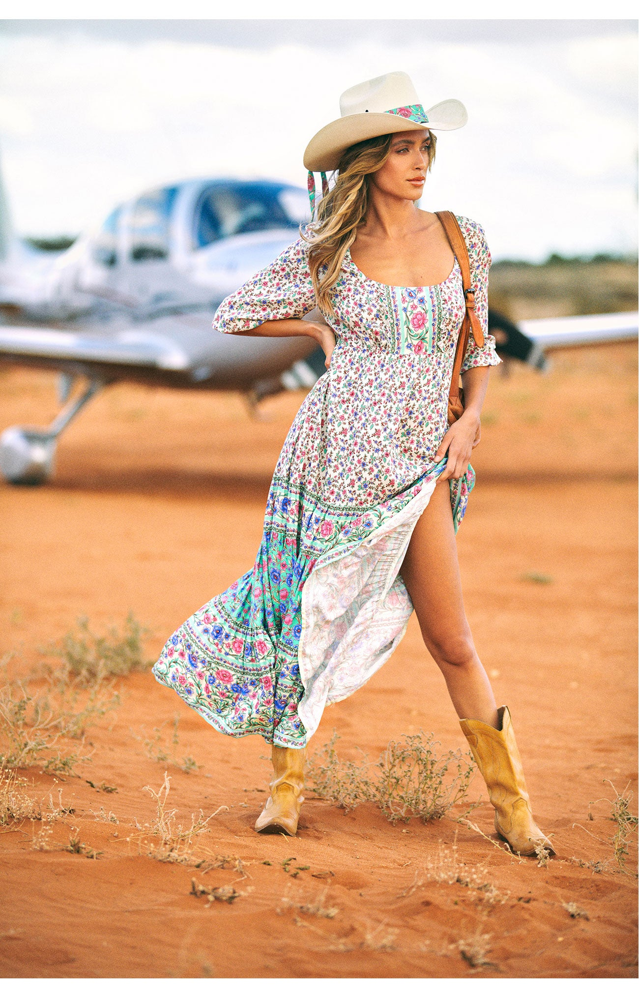 Travelling NSW in style, Kasey wears her new eco Arnhem