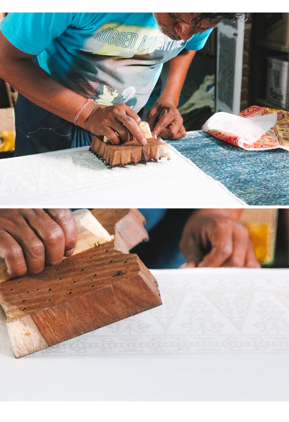 Block printing by hand on organic cotton to create sustainable fashion by Arnhem