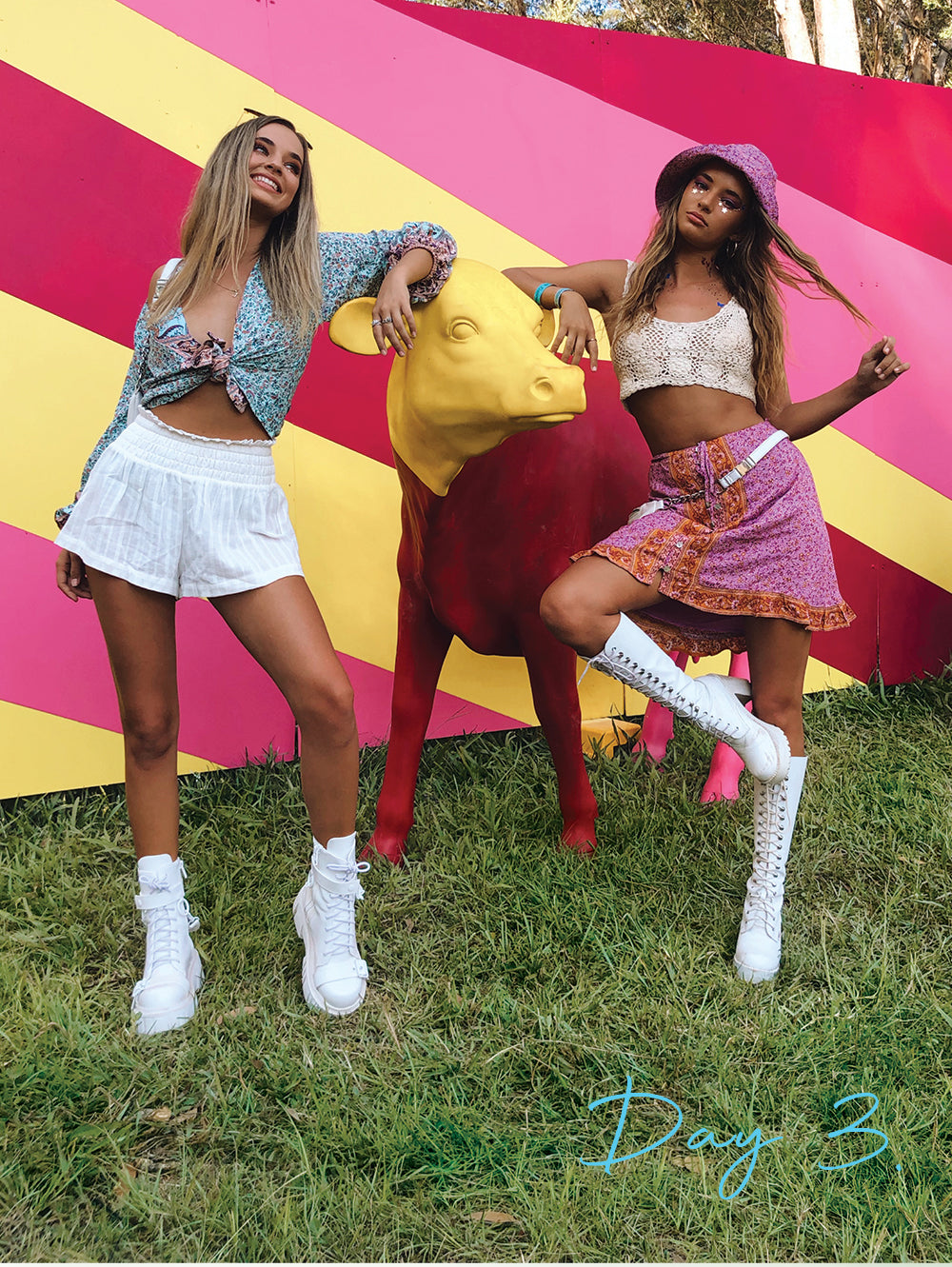 Influencers at Falls Festival Byron Bay styled by Arnhem Clothing