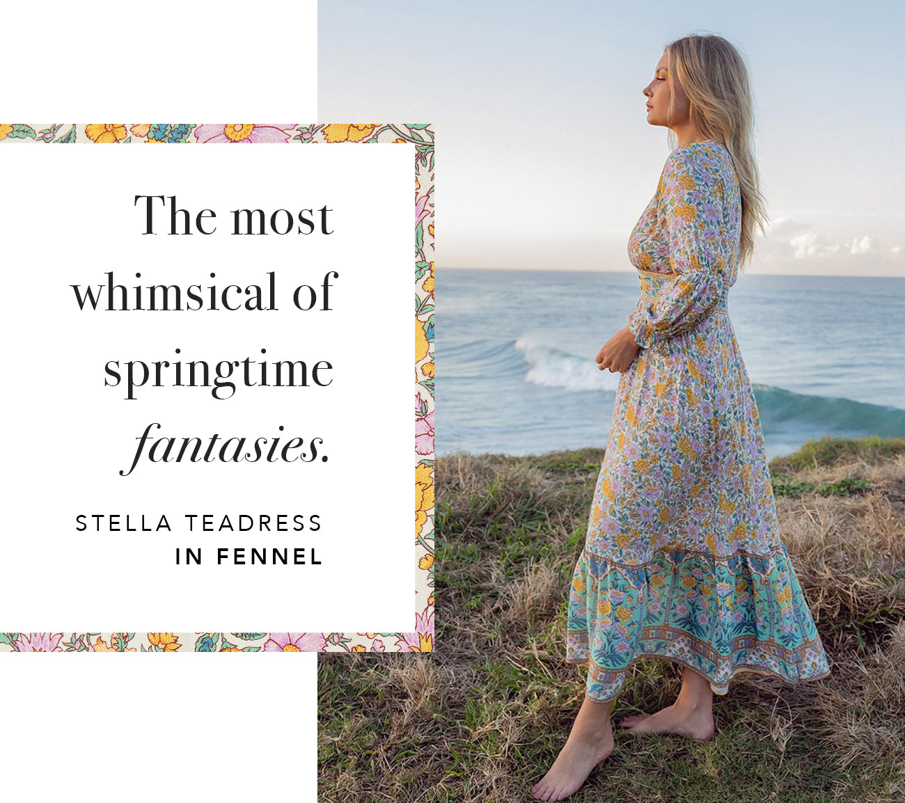 The Stella Teadress in Fennel from sustainable clothing brand Arnhem