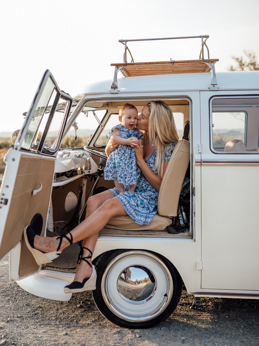 Rileys Travels wears the Camilla Mini Dress and Baby Dress in Bluebird - Arnhem ethical clothing