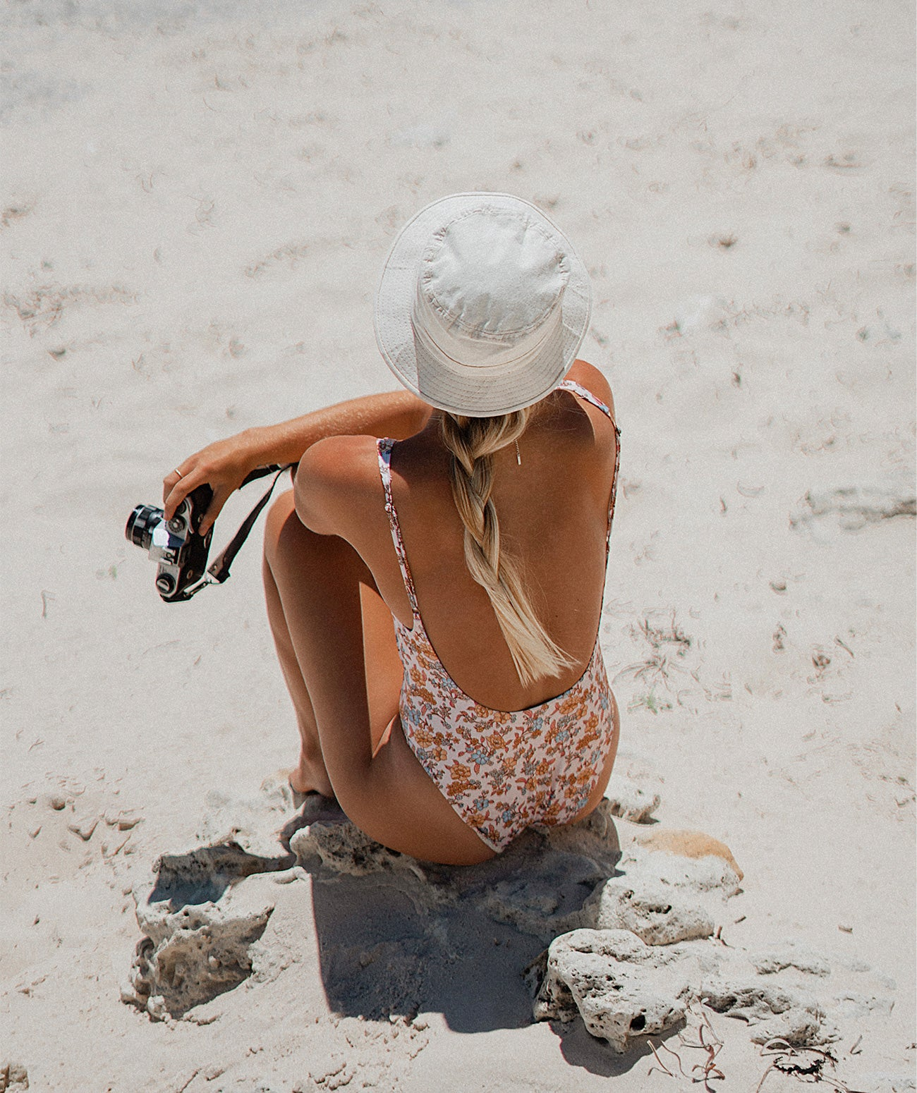 Kendall Baggerly wearing the Hiney One Piece in Coconut Cream