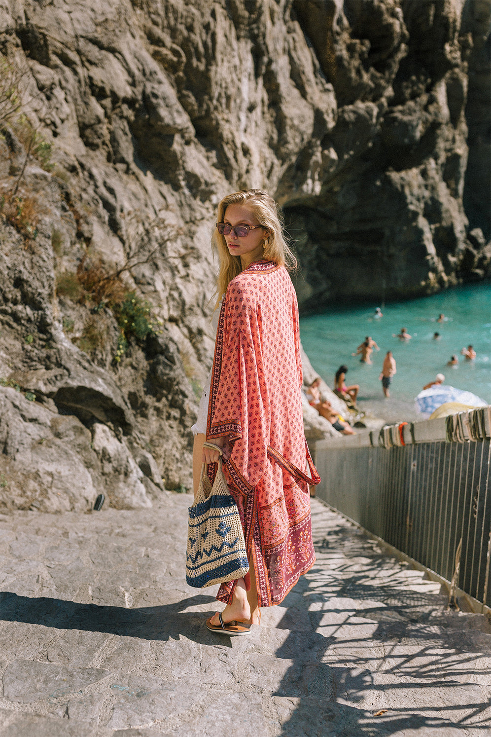 The Serafina Kimono from Arnhem clothing shot in Sorrento