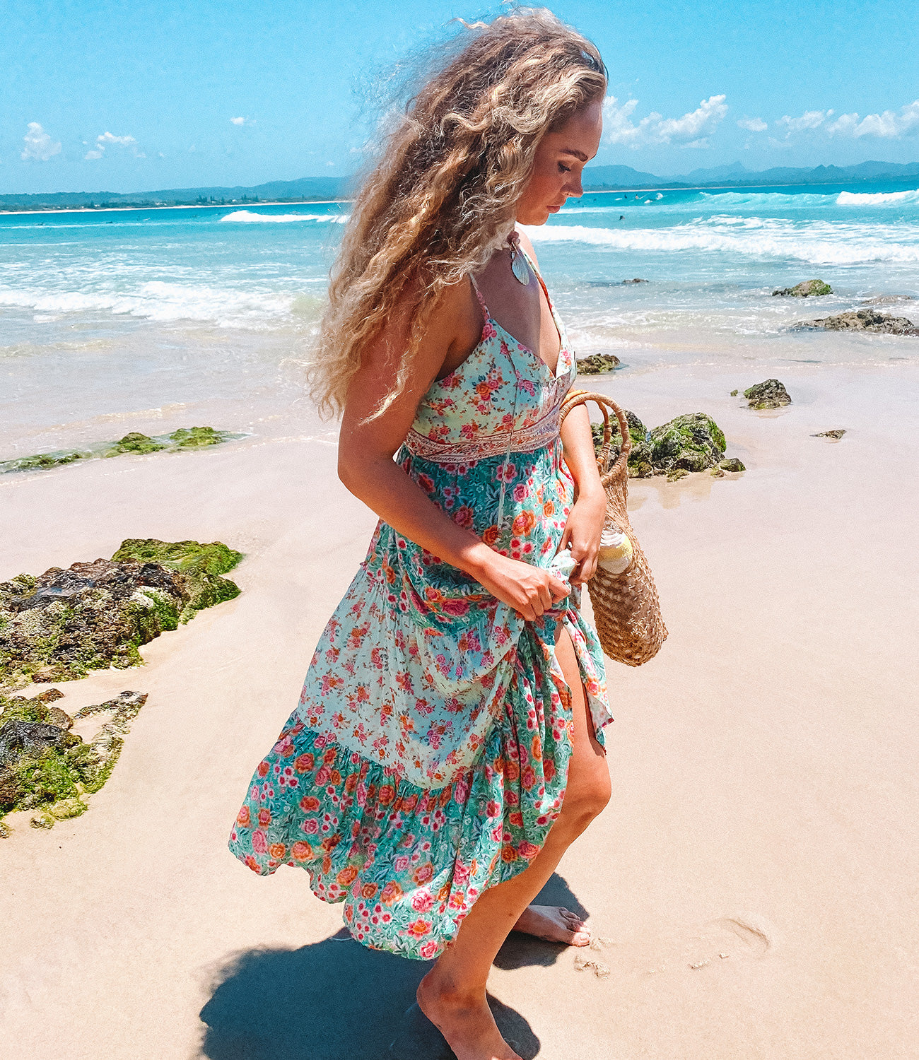 Visiting The Pass Byron Bay with Orchid wearing the new sustainable fashion collection