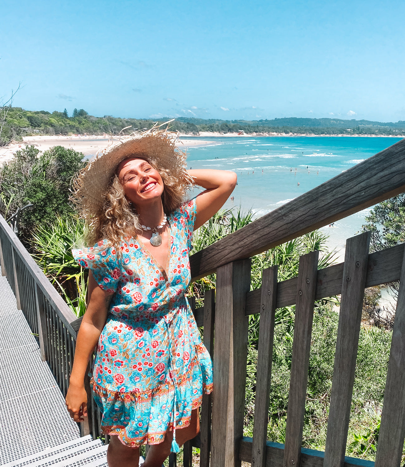 Orchid wears the Arnhem Florence Mini Dress at The Pass Lookout in Byron Bay