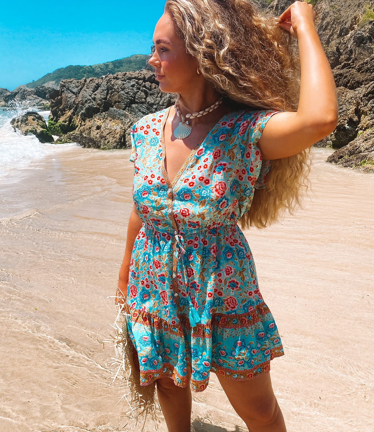 The sustainable Florence Mini Dress as seen on Orchid at The Pass Byron Bay