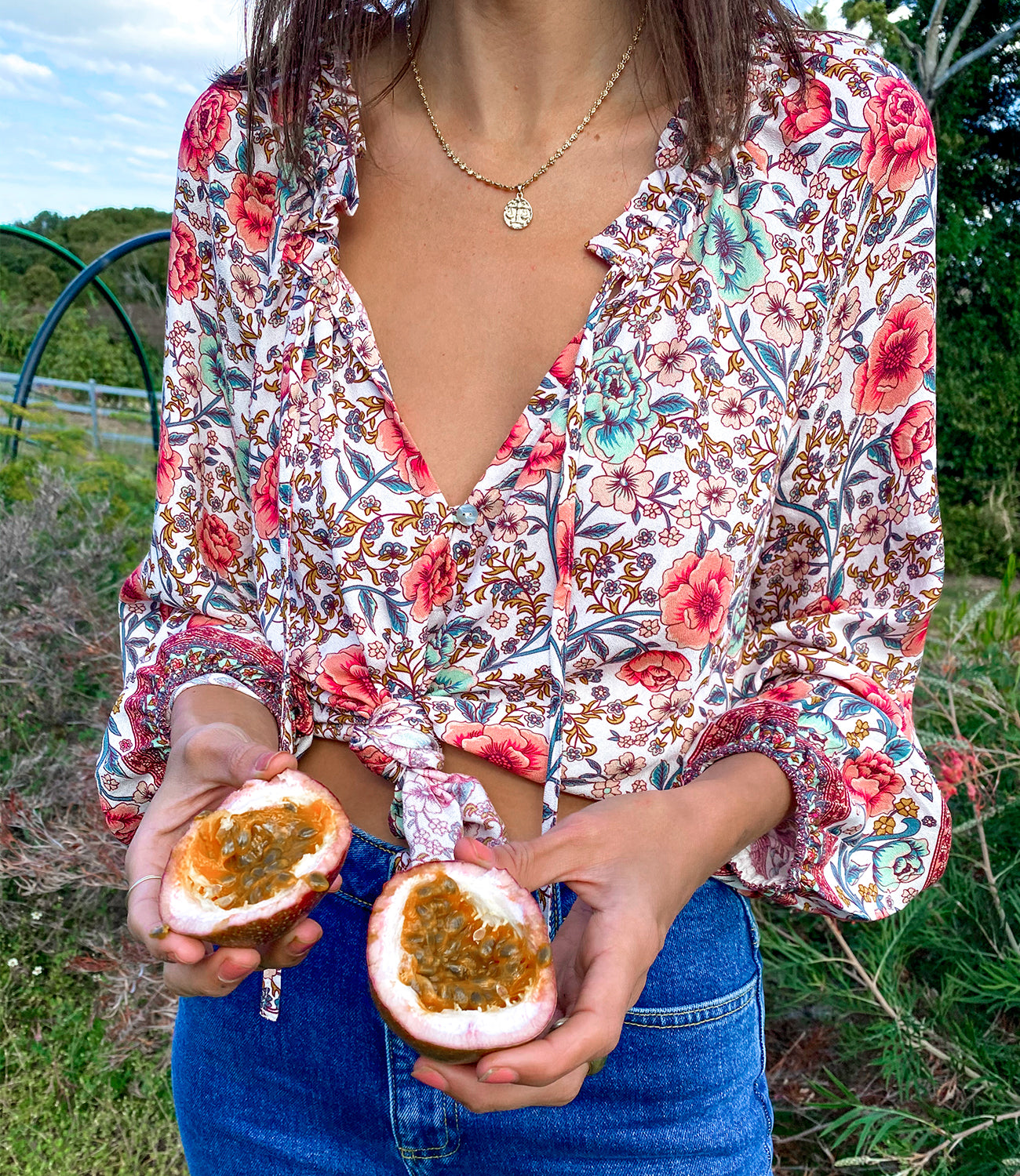 Arnhem Juliette Blouse styled with organic passionfruit on the blog