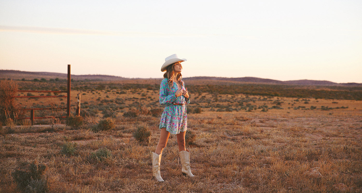 Sunset in the Australian outback of NSW on location of the Nomada shoot