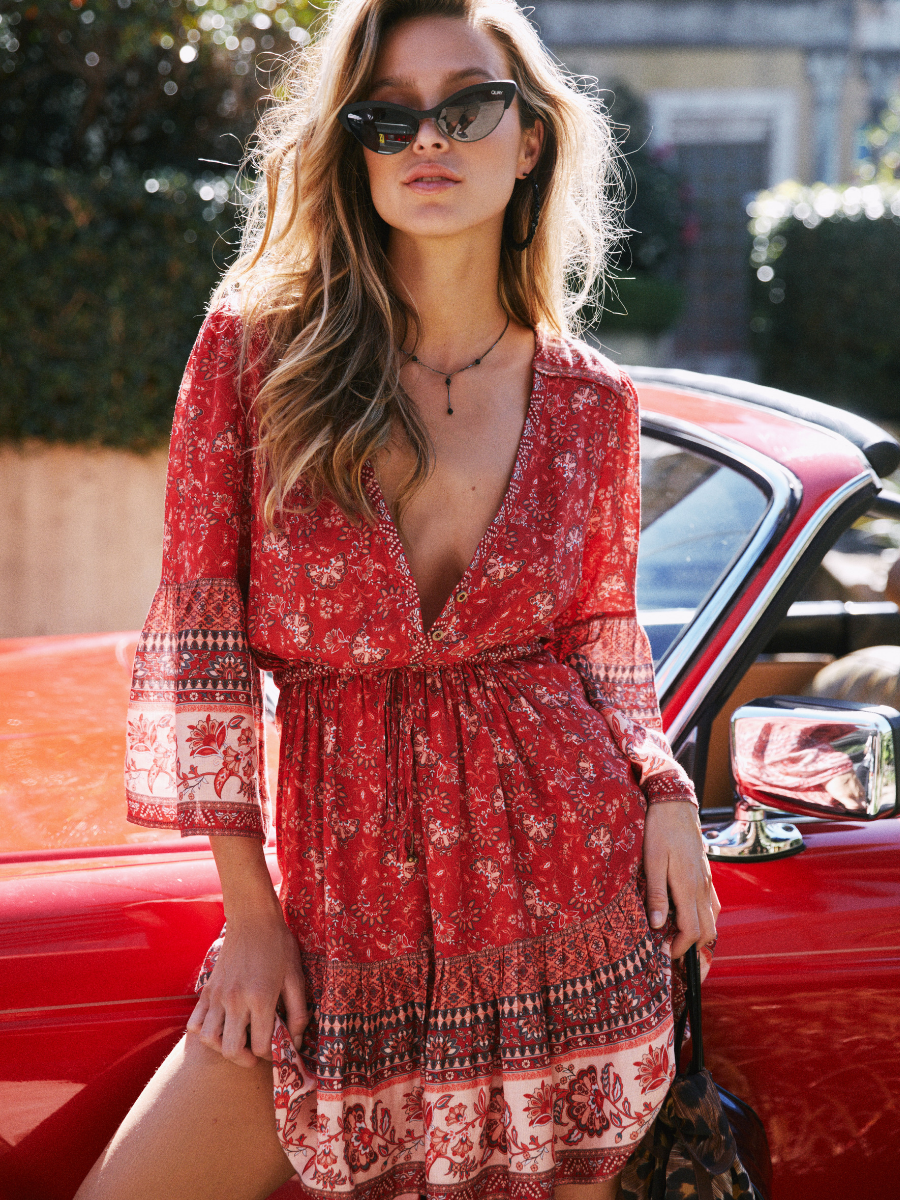 The Amelie Mini Dress in cassis from sustainable fashion brand Arnhem Clothing