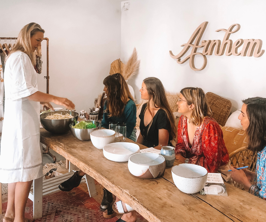 Sustainable clothing brand Arnhem learn how to make Sauerkraut in their mindfulness workshop