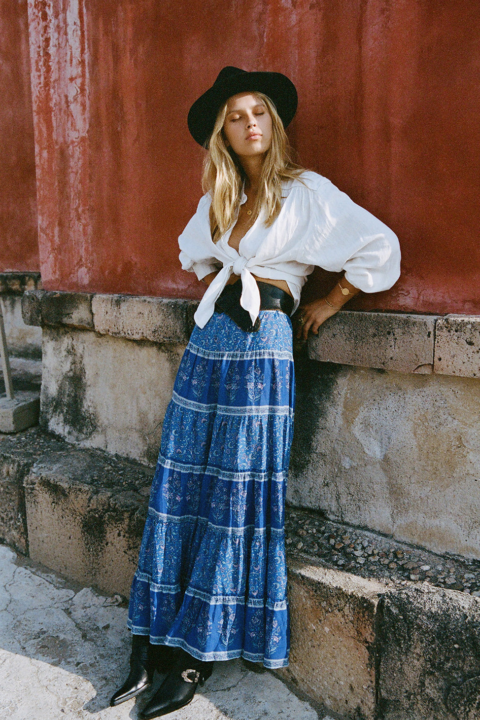 Wisteria Maxi Skirt in Moonlight Blue