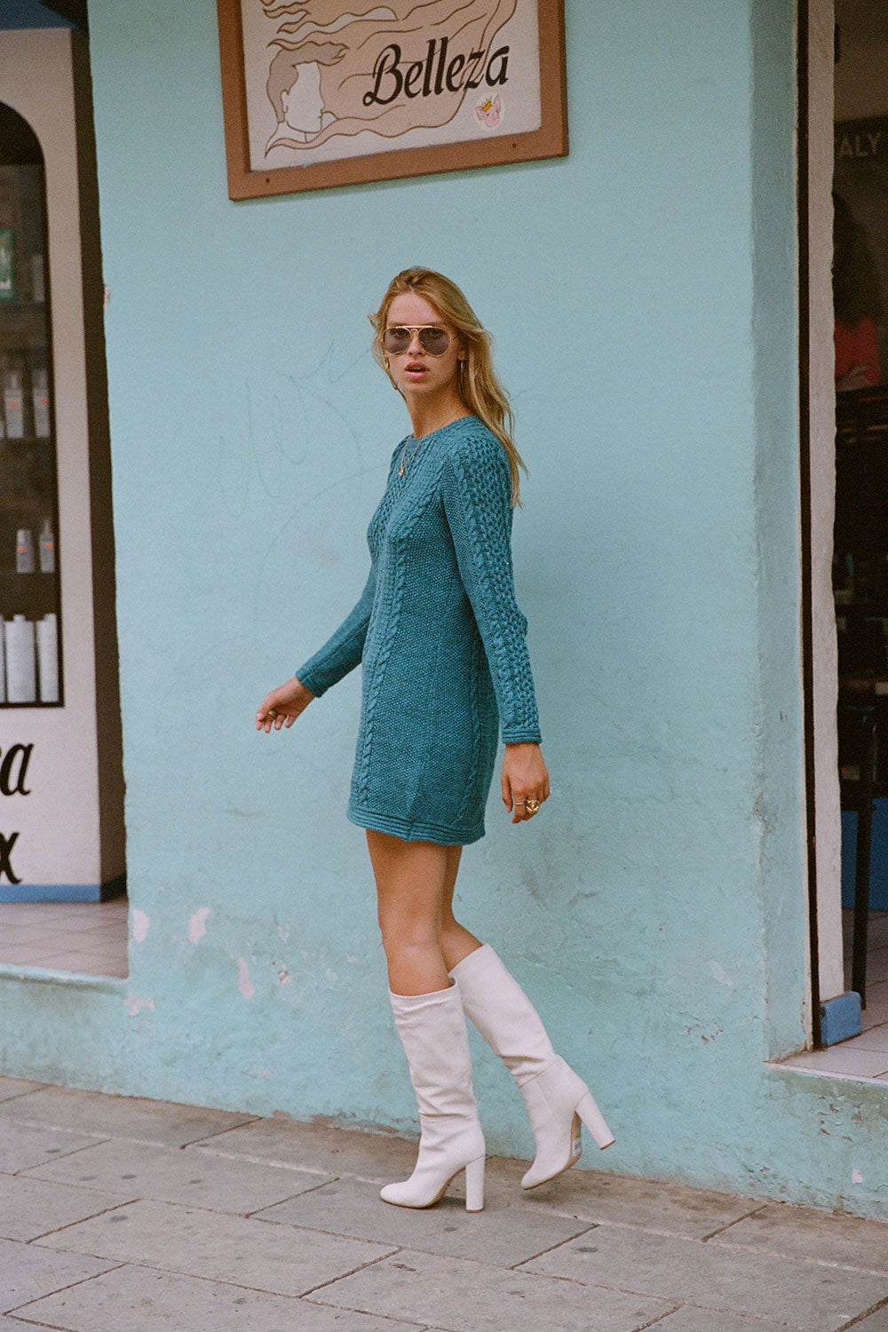 Avalon Cable Knit Dress in Aquamarine