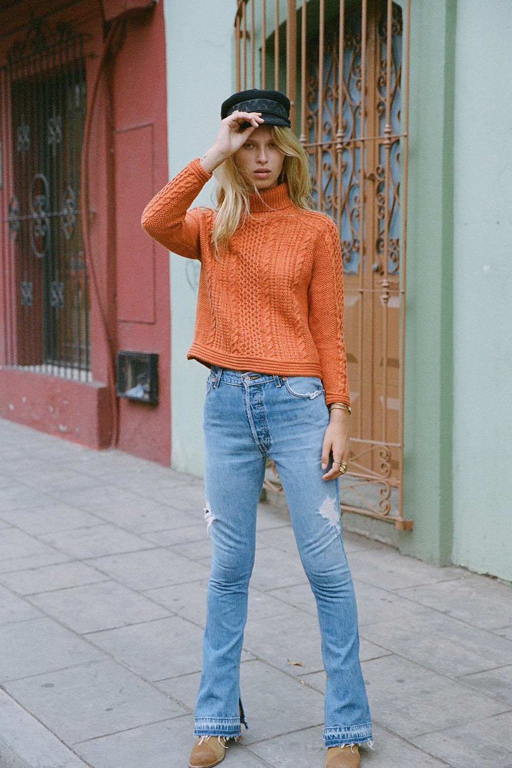 Avalon Cable Knit Pullover in Citrine