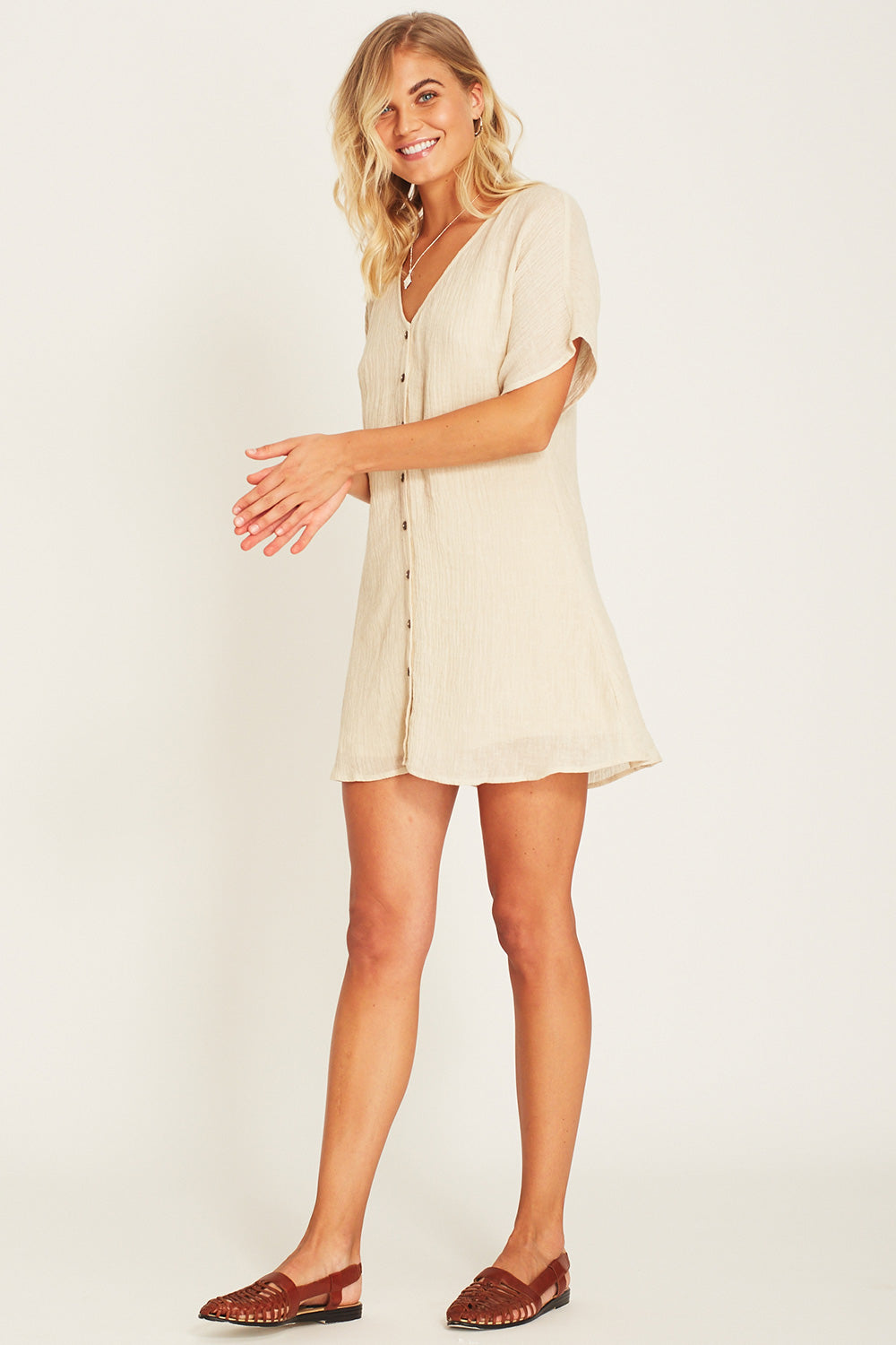 Meika Linen Mini Dress in Oatmeal