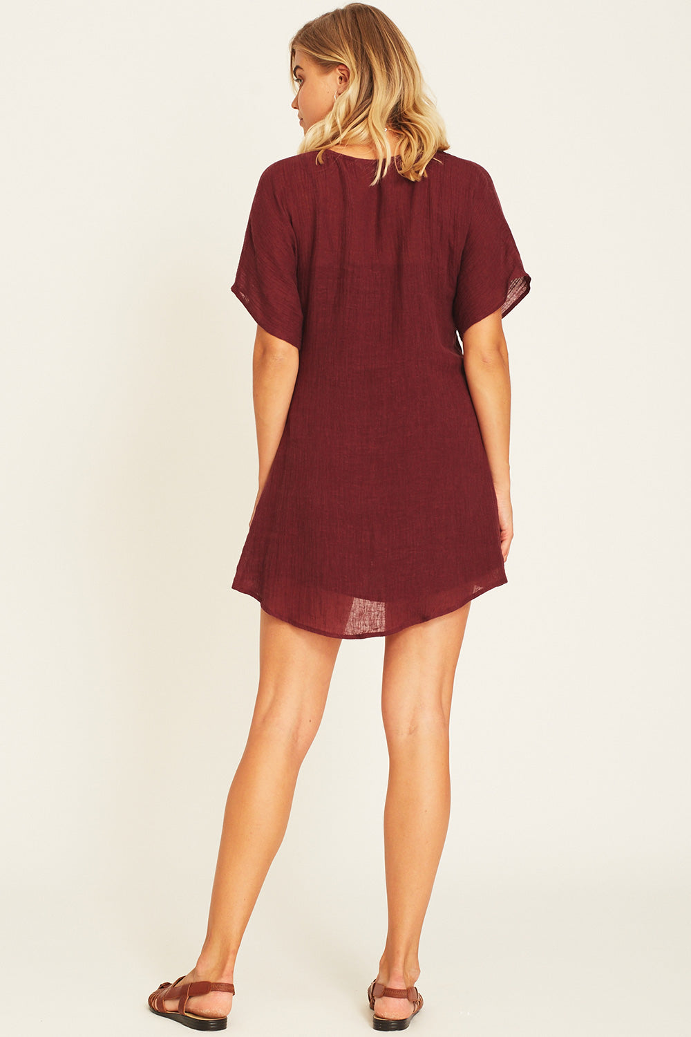 Meika Linen Mini Dress in Fig