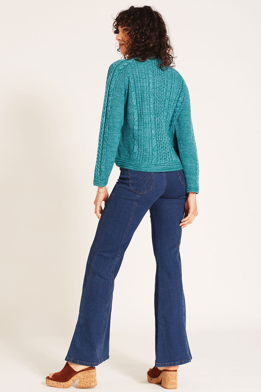 Avalon Cable Knit Pullover in Aquamarine