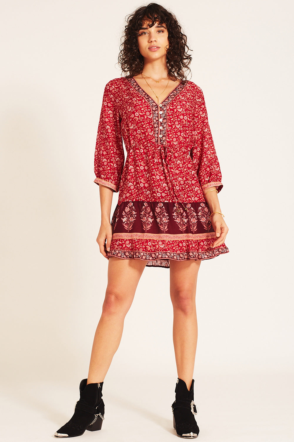 Wisteria Mini Dress in Crimson