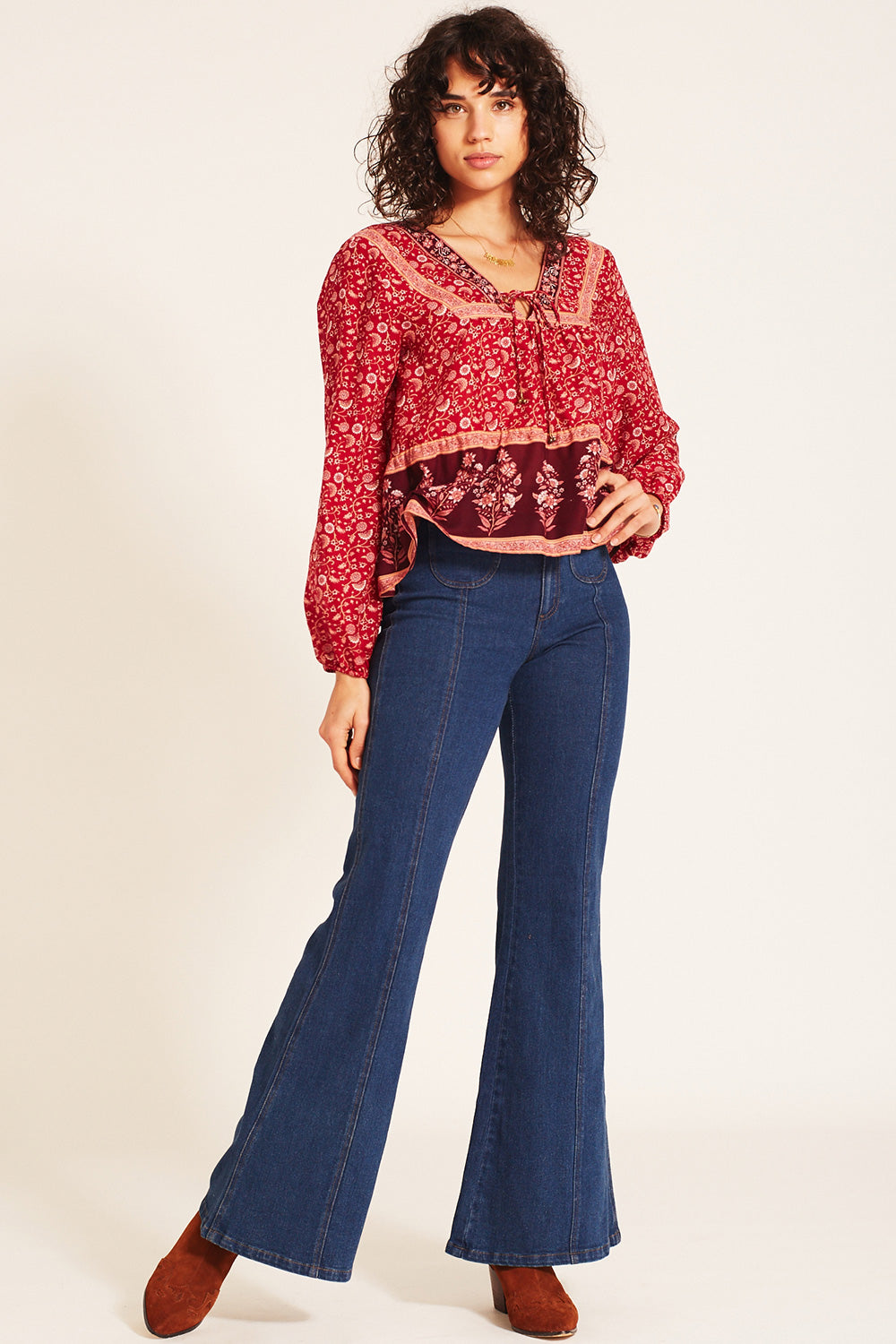 Wisteria Blouse in Crimson