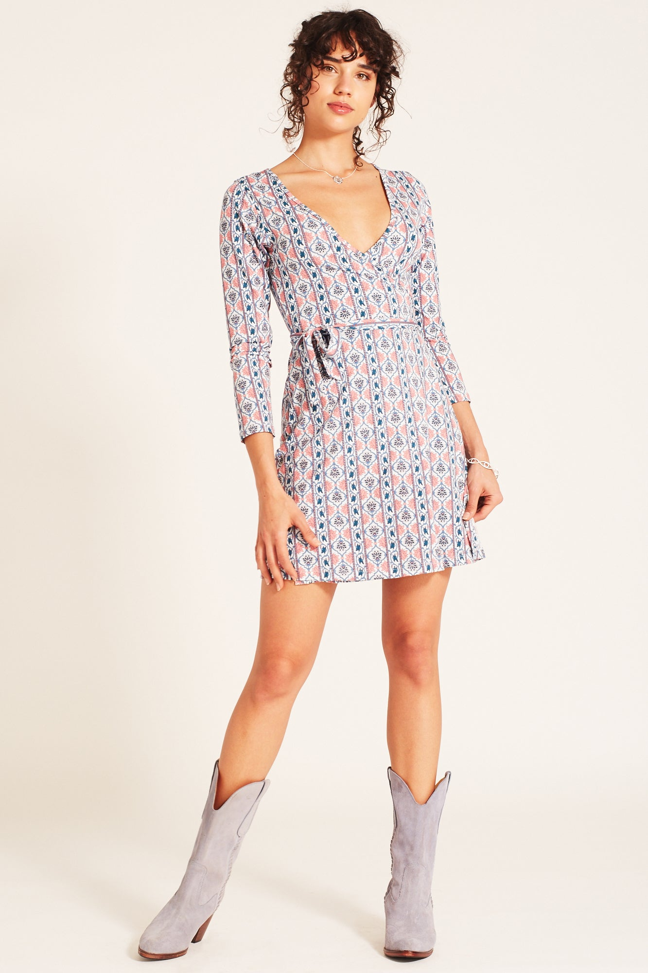 Harper Mini Wrap Dress in Sky