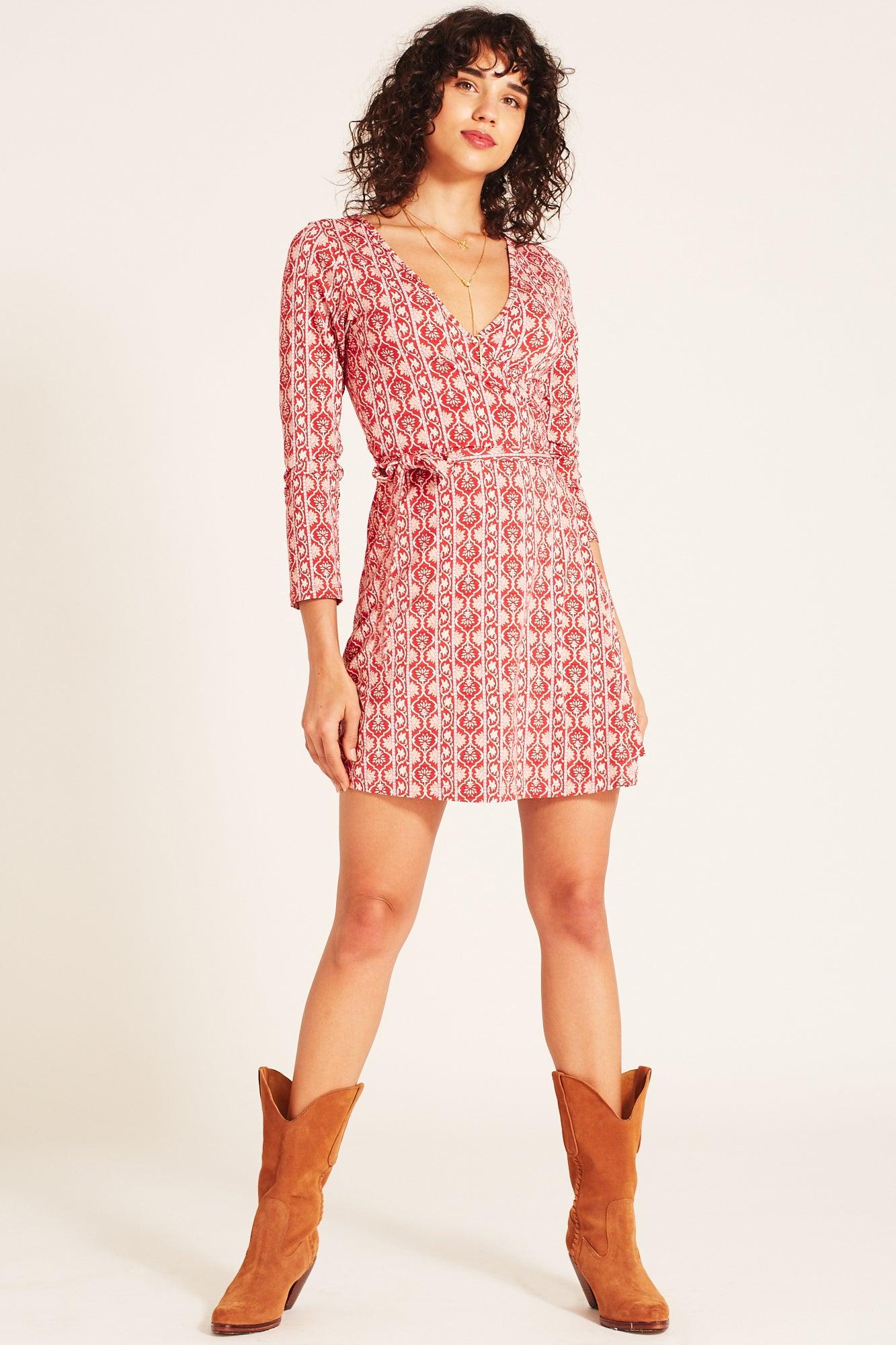 Harper Mini Wrap Dress in Rouge
