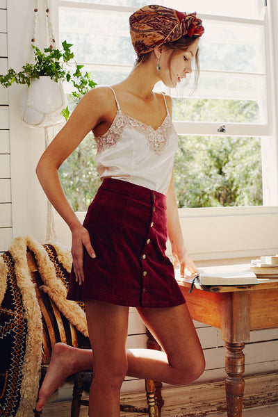 Ginger Cord Skirt in Tawny Port