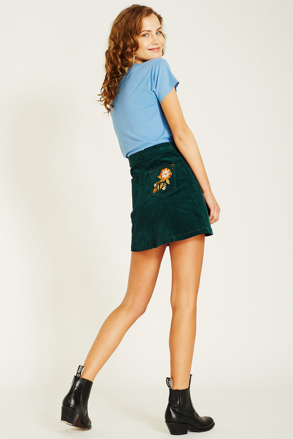 Ginger Cord Skirt in Teal