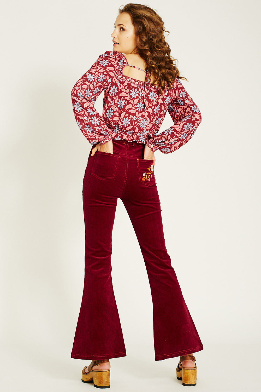 Ginger Cord Flares in Tawny Port