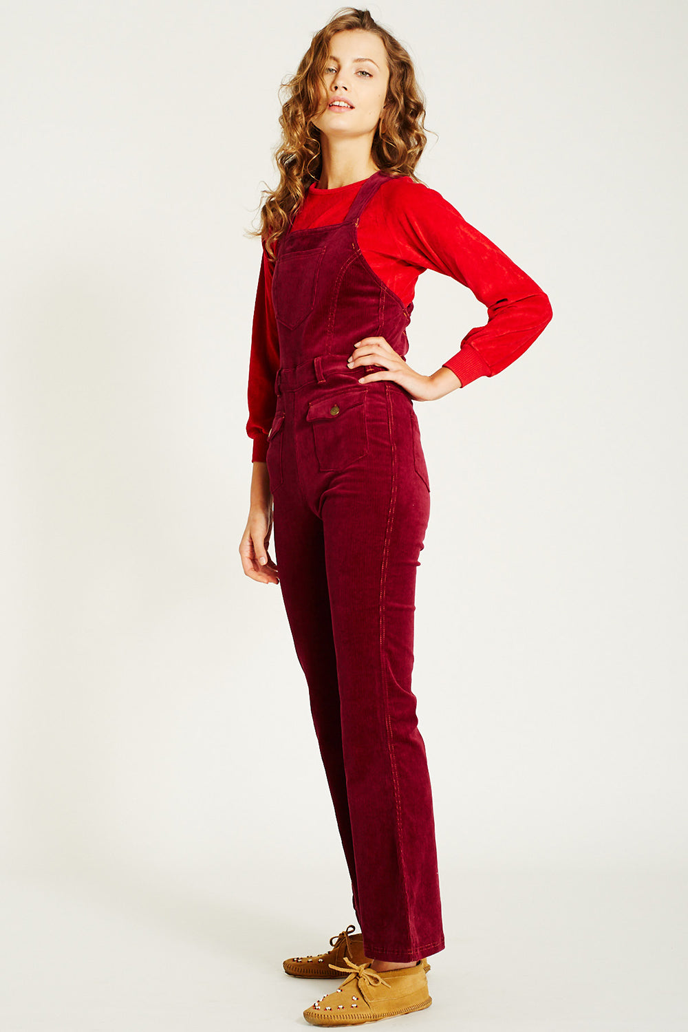 Ginger Cord Overalls in Tawny Port