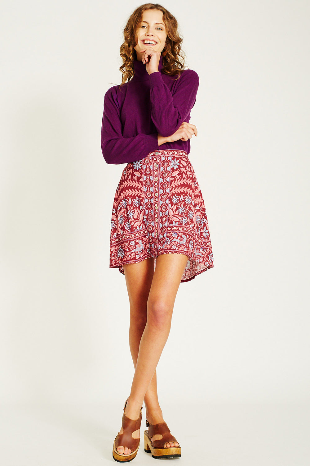 Marigold Mini Skirt in Rhubarb