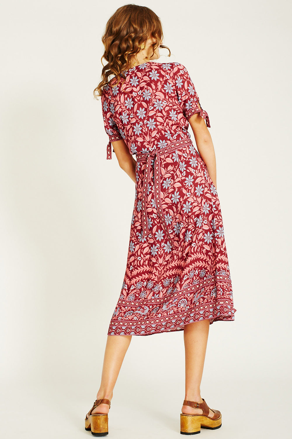 Marigold Midi Wrap Dress in Rhubarb