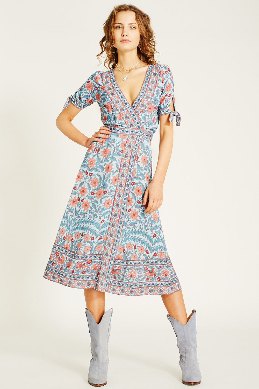 Marigold Midi Wrap Dress in Crystal