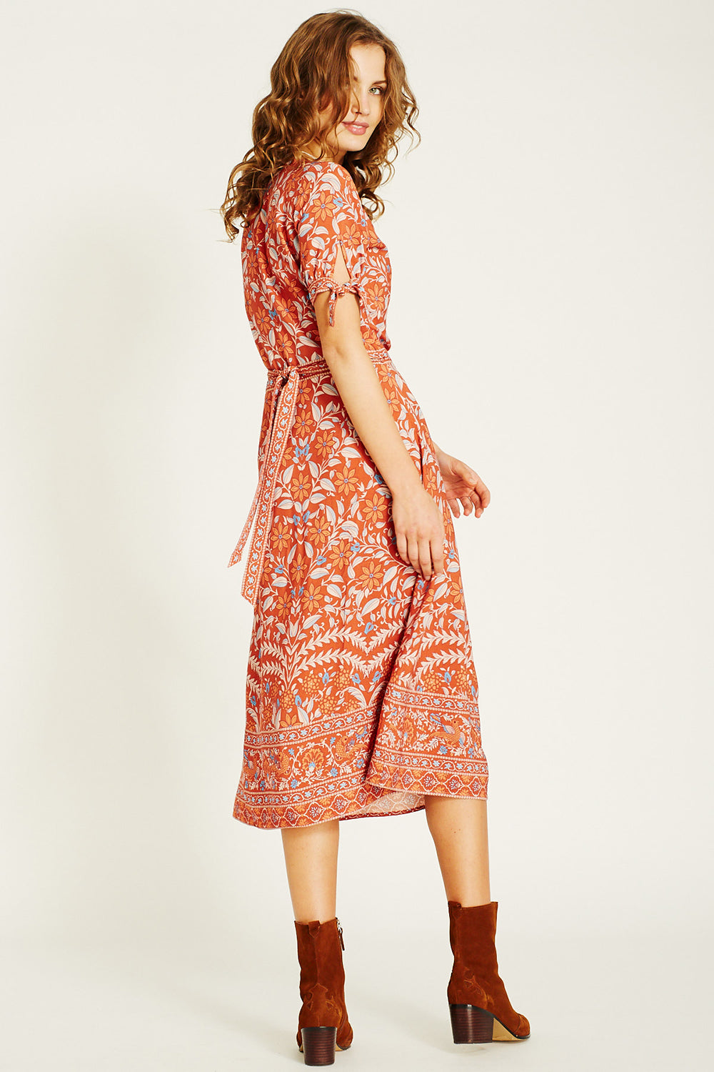 Marigold Midi Wrap Dress in Ochre