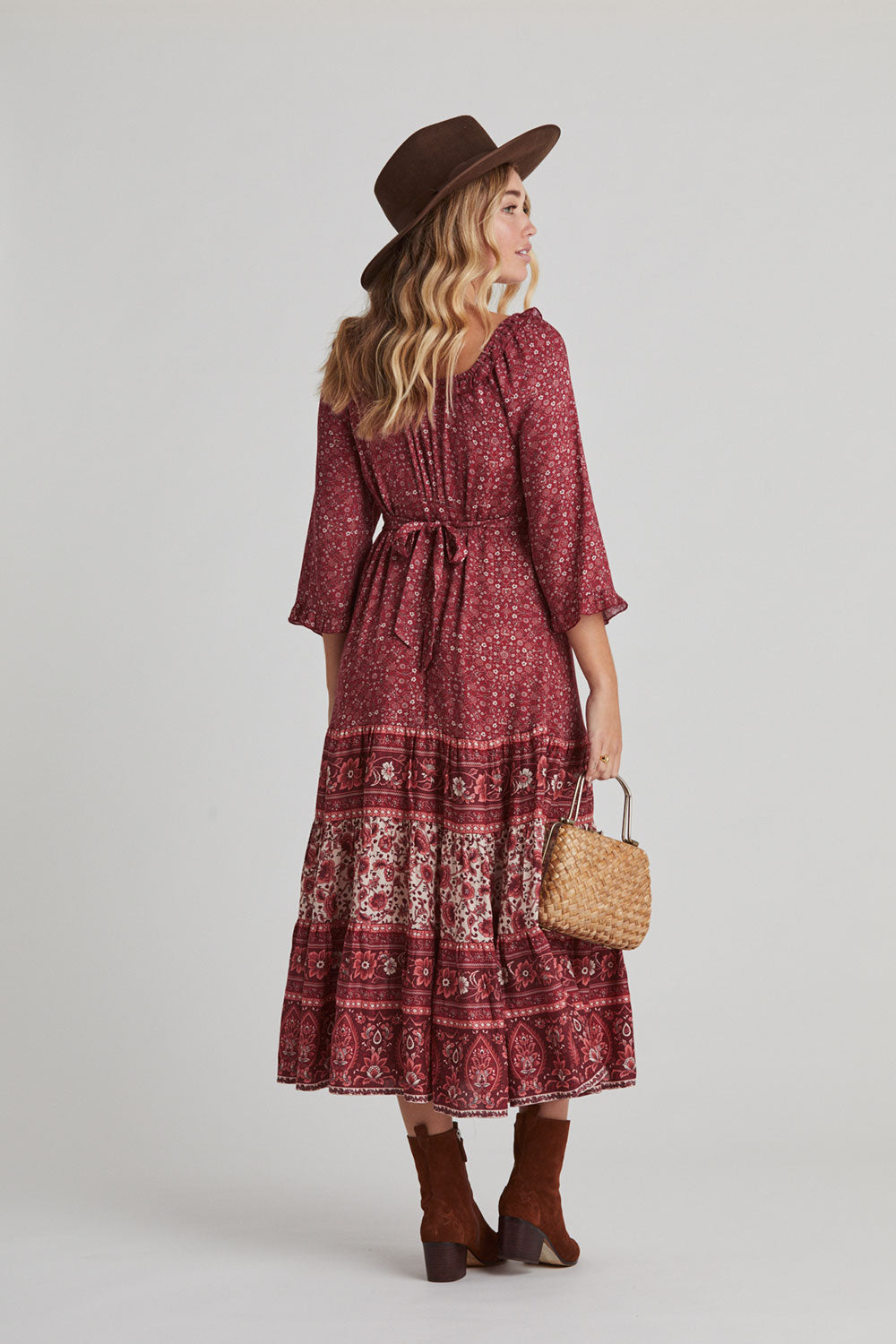 Esmee Midi Dress in Ruby