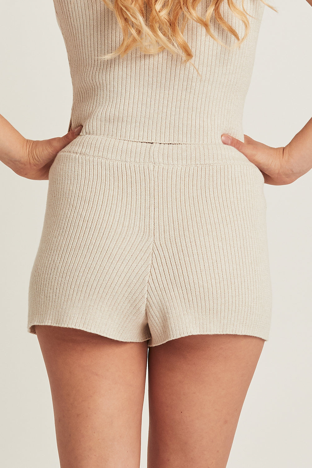 Taylor Knitted Shorts in Driftwood