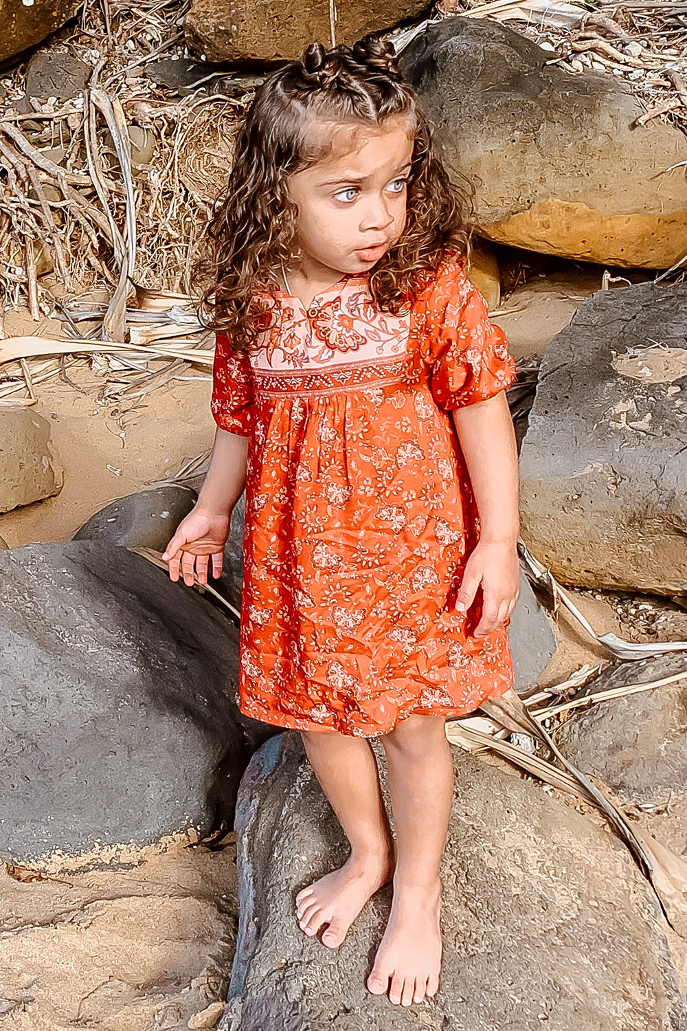Amelie Kiddies Dress in Cassis