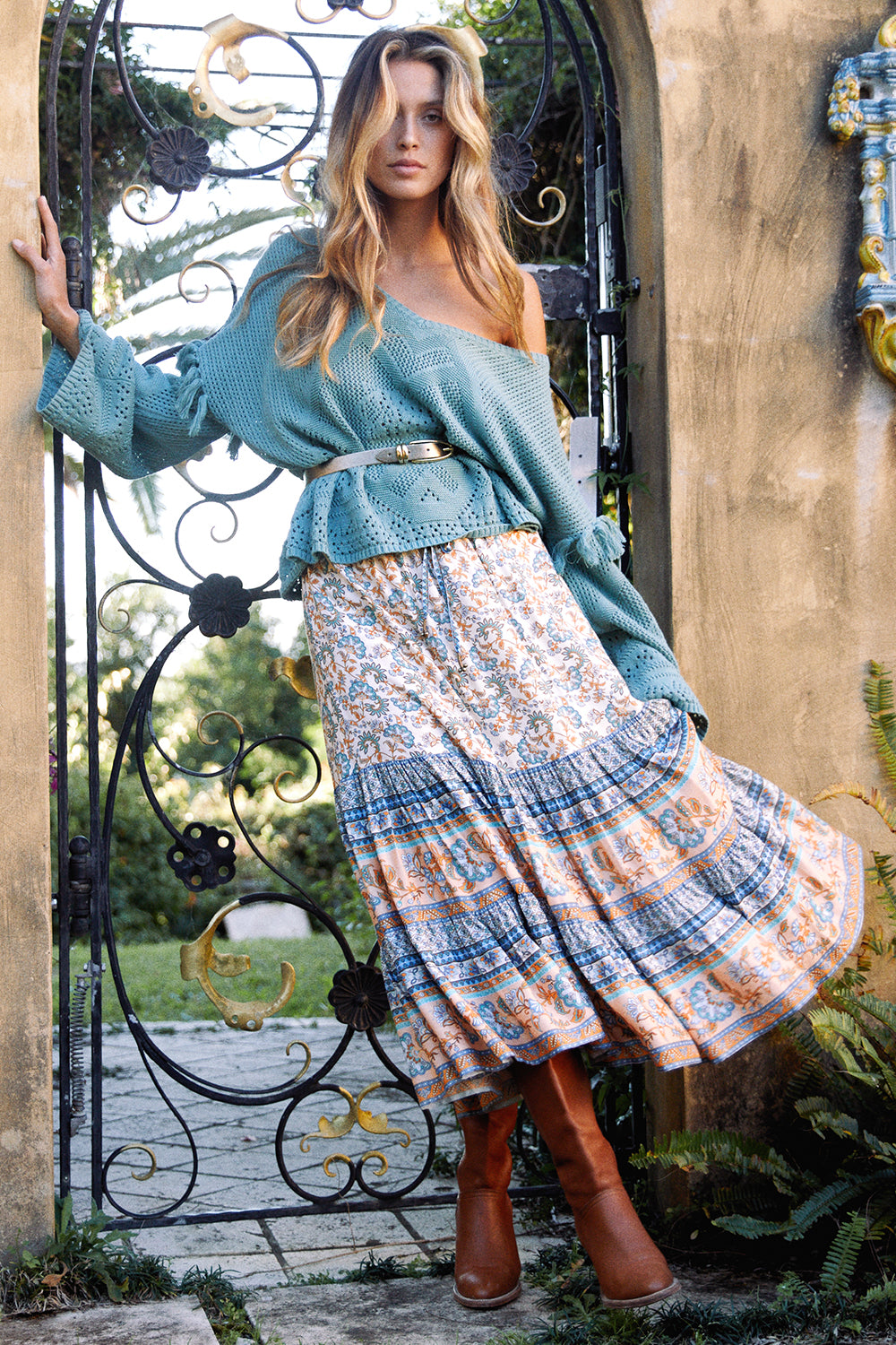 Amelie Midi Skirt in Provence