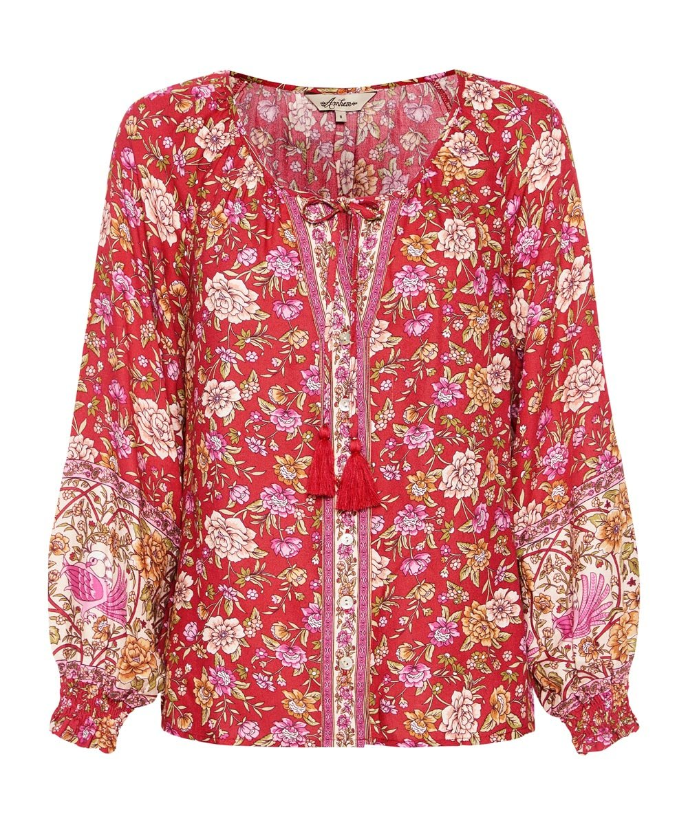 Jasmine Blouse in Campari