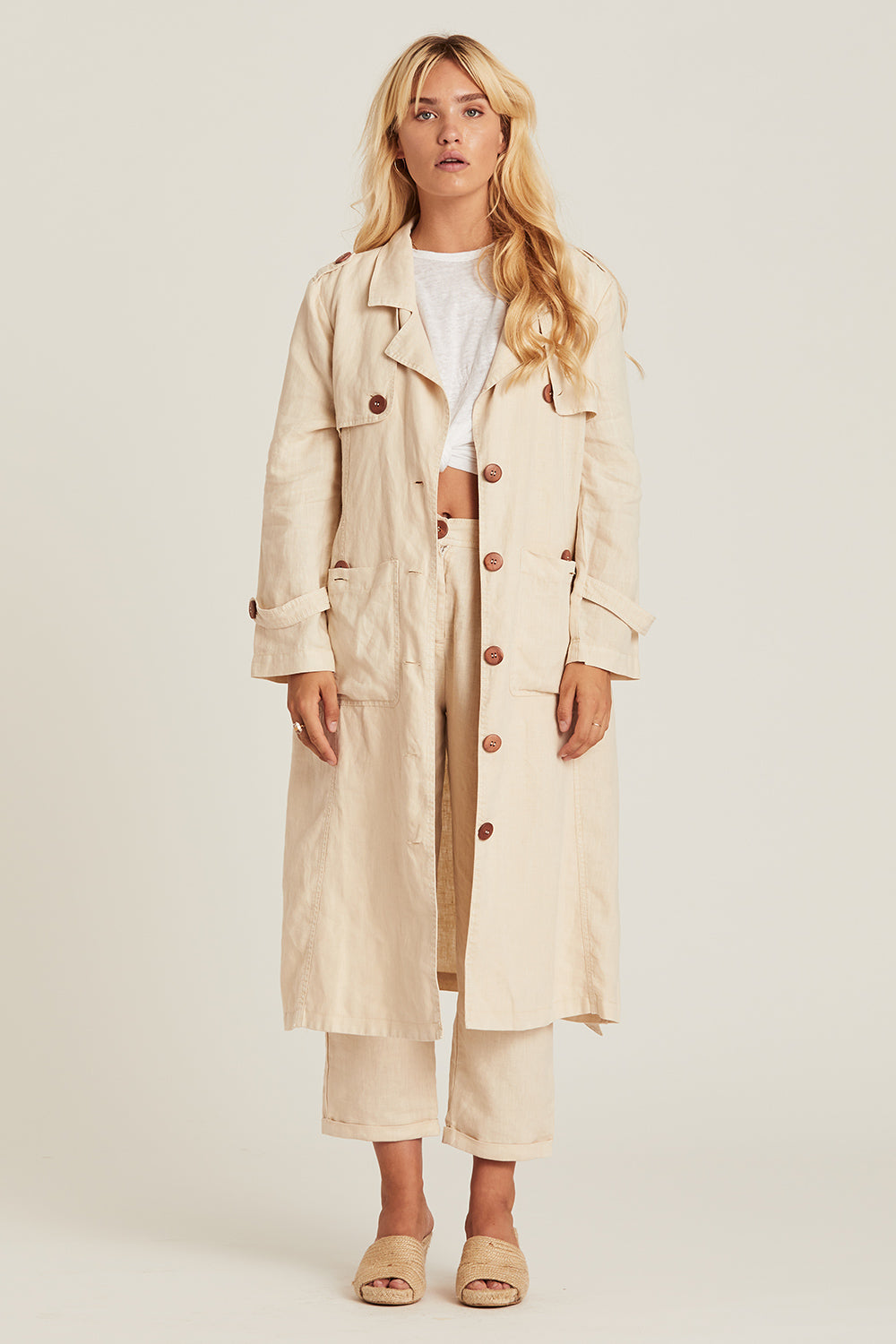 Blaze Trench Coat in Stone