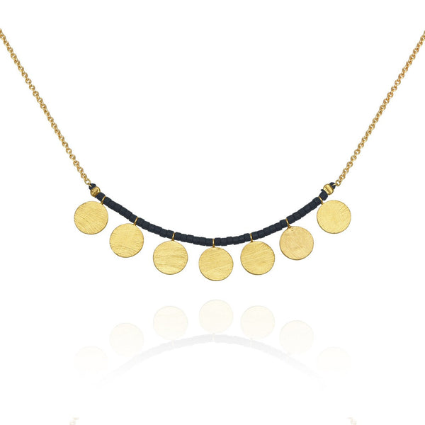 Temple of the Sun ~ Seed Bead Necklace with Gold Chain and Disc Matt Black
