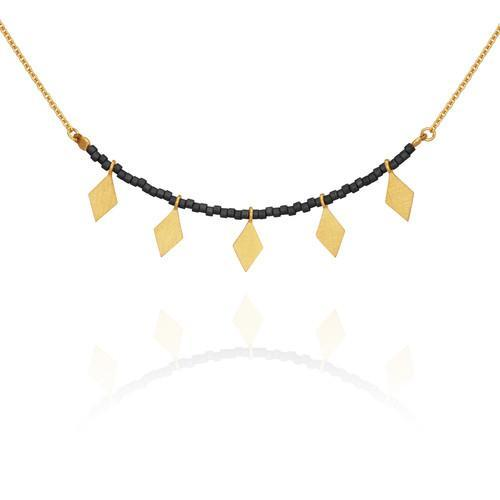 Temple of the Sun ~ Calli Seed Bead Necklace Black Gold