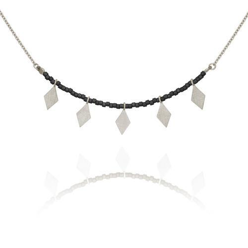 Temple of the Sun ~ Calli Seed Bead Necklace Black Silver