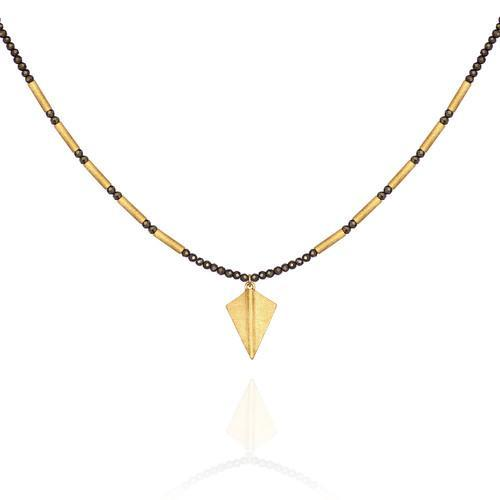 Temple of the Sun ~ Capella Pyrite Necklace with Gold Arrowhead