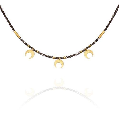 Temple of the Sun ~ Capella Pyrite Necklace with Gold Moons