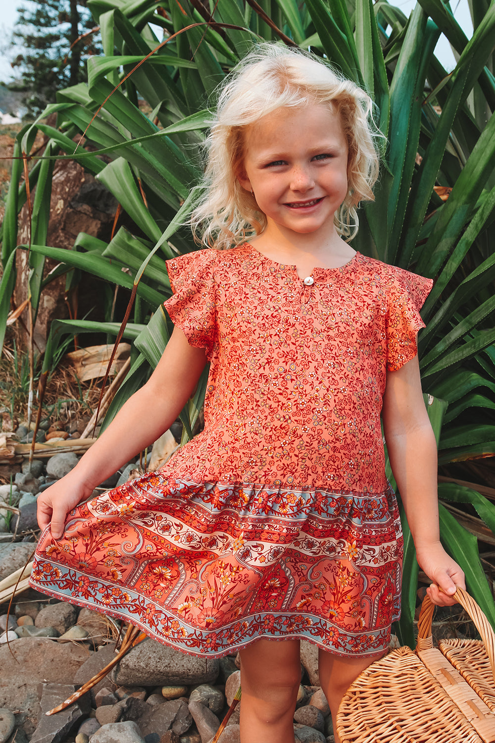 Castaway Kiddies Dress in Hibiscus