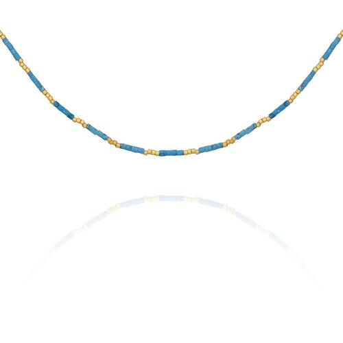 Temple of the Sun ~ Cori Necklace Turquoise With Gold Sead Bead
